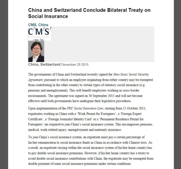China And Switzerland Conclude Bilateral Treaty On Social Insurance