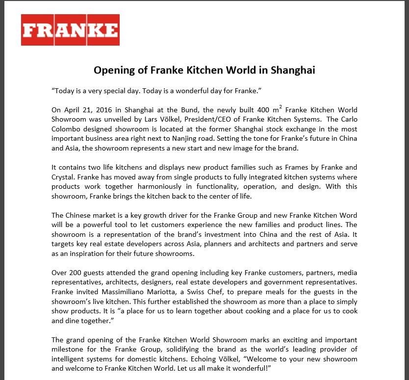 opening of franke kitchen world in shanghai sim - Shanghai Kitchen